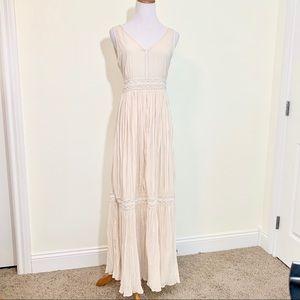 Massimo dutti light pink hand beaded maxi dress